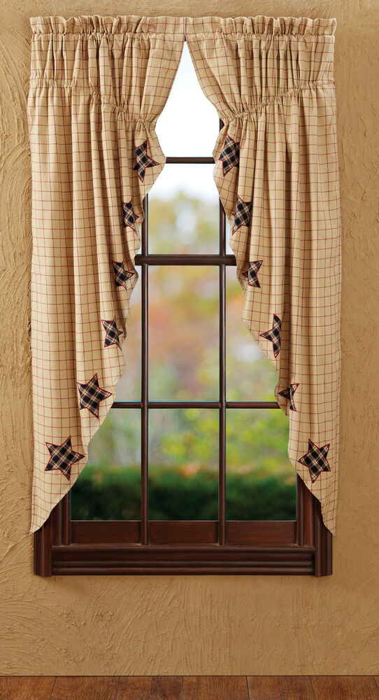 Bingham Star Applique Prairie Curtains Set Primitive