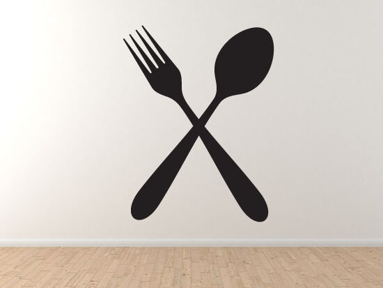 Crossed Fork and Spoon Dining Restaurant Utensils - Vinyl ...