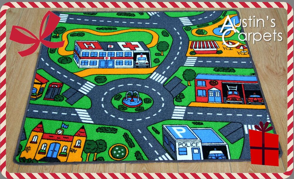 Ideal Christmas Present Road Map Childrens Rug Kids City
