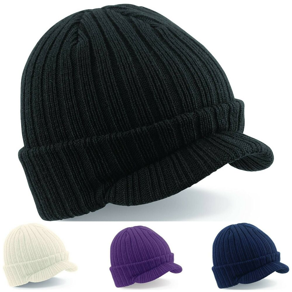 peaked beanie warm winter ribbed wooly cadet army ski mens