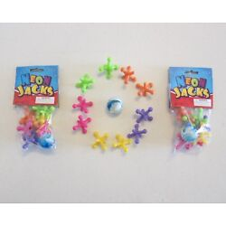 2 SETS OF NEW LARGE SIZE NEON JACKS AND RUBBER BOUNCE BALL GAME CLASSIC KIDS TOY
