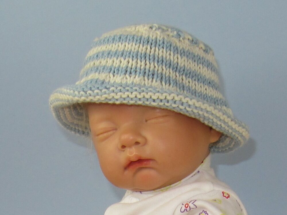 Knit Baby Hats Patterns Roll Brim : KNITTING PATTERN INSTRUCTION- BABY & CHILD ROLL BRIM BUCKET HAT KNITTING ...