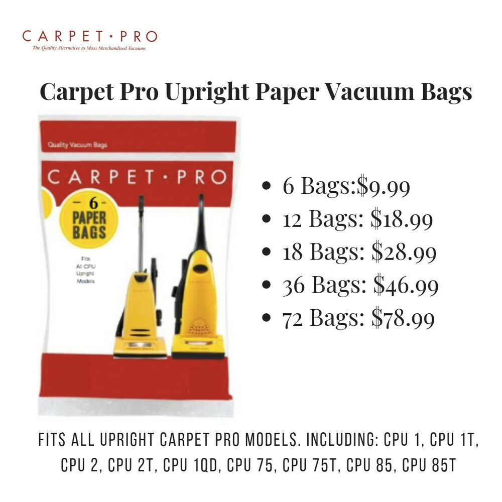 Hoover Vacuum Cleaner Bags Type Y Carpet Pro Vacuum Cleaner Bags, CPU Commercial Vacuum Bags ...