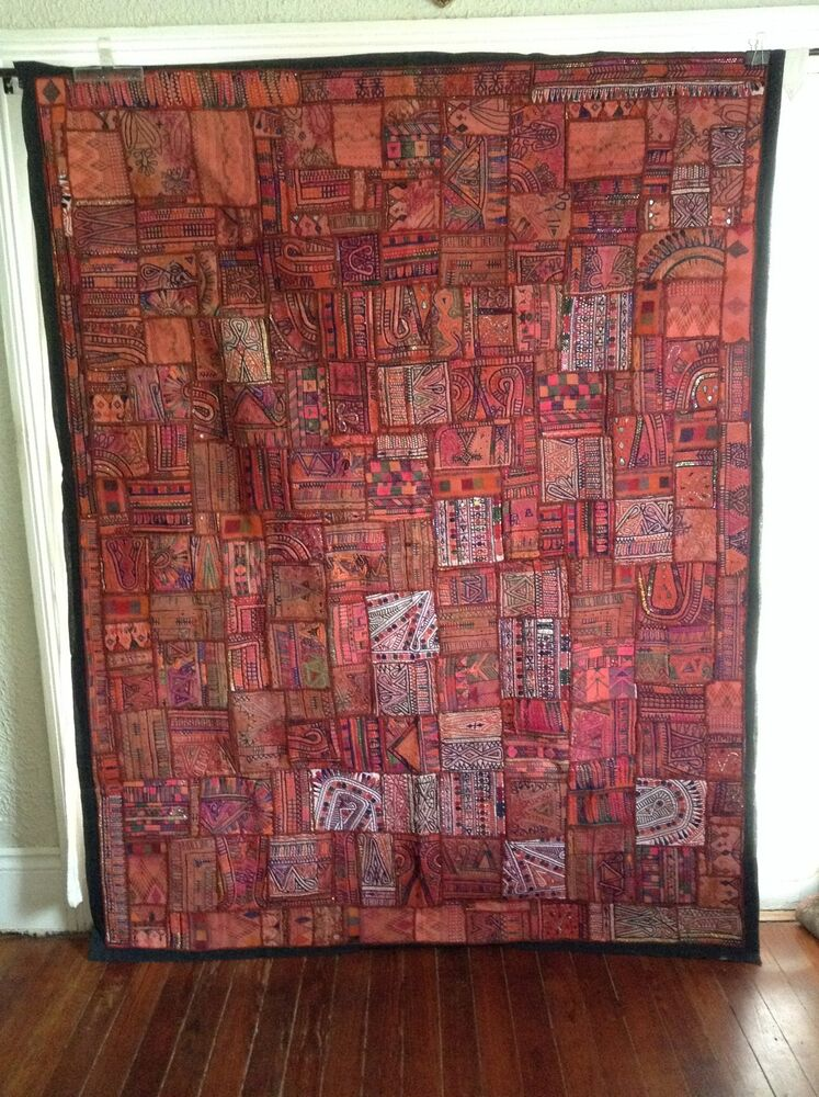 Antique Indian Patchwork Tapestry 85 Quot X 66 Quot Embroidered