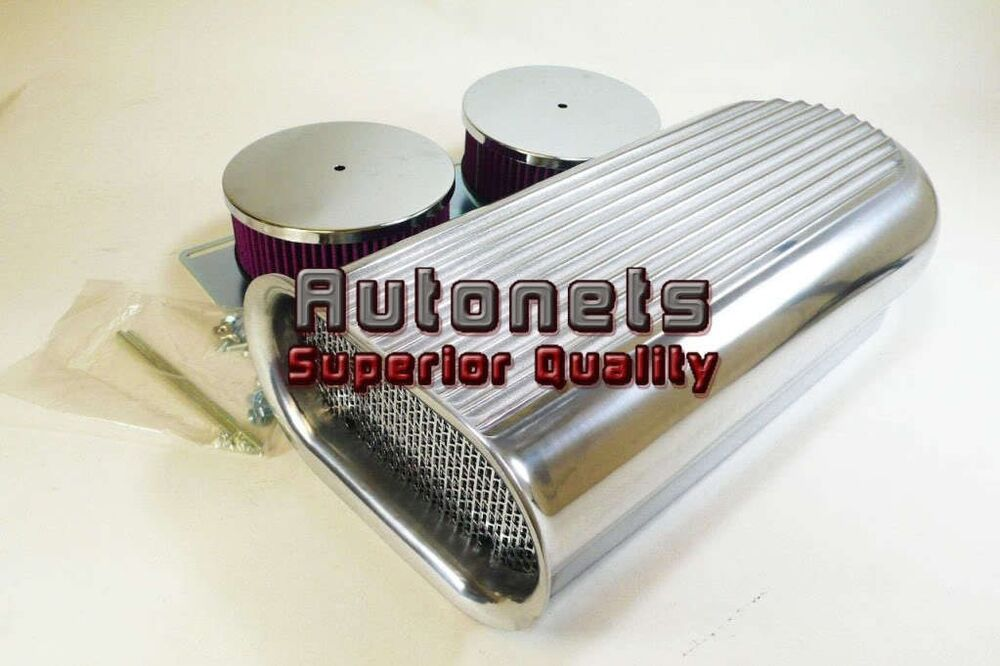 Induction Air Cleaner Hood : Washable dual barrel carb aluminum hood scoop air