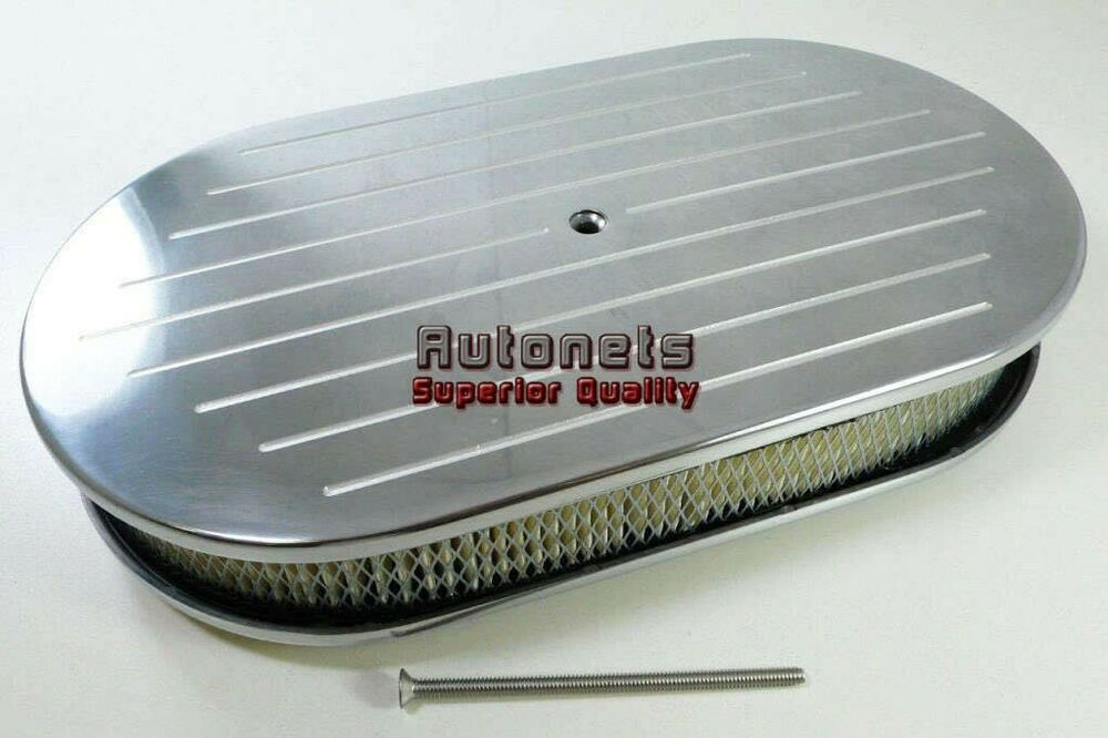 Hot Rod Air Cleaner : Quot oval polished ball milled aluminum air cleaner filter