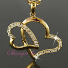 18K 18CT Yellow GOLD Plated Love HEART Pendant NECKLACE Swarovski CRYSTAL L155