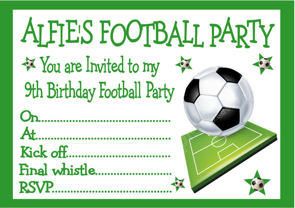 personalised invites childrens    boys football birthday party invitations x 10