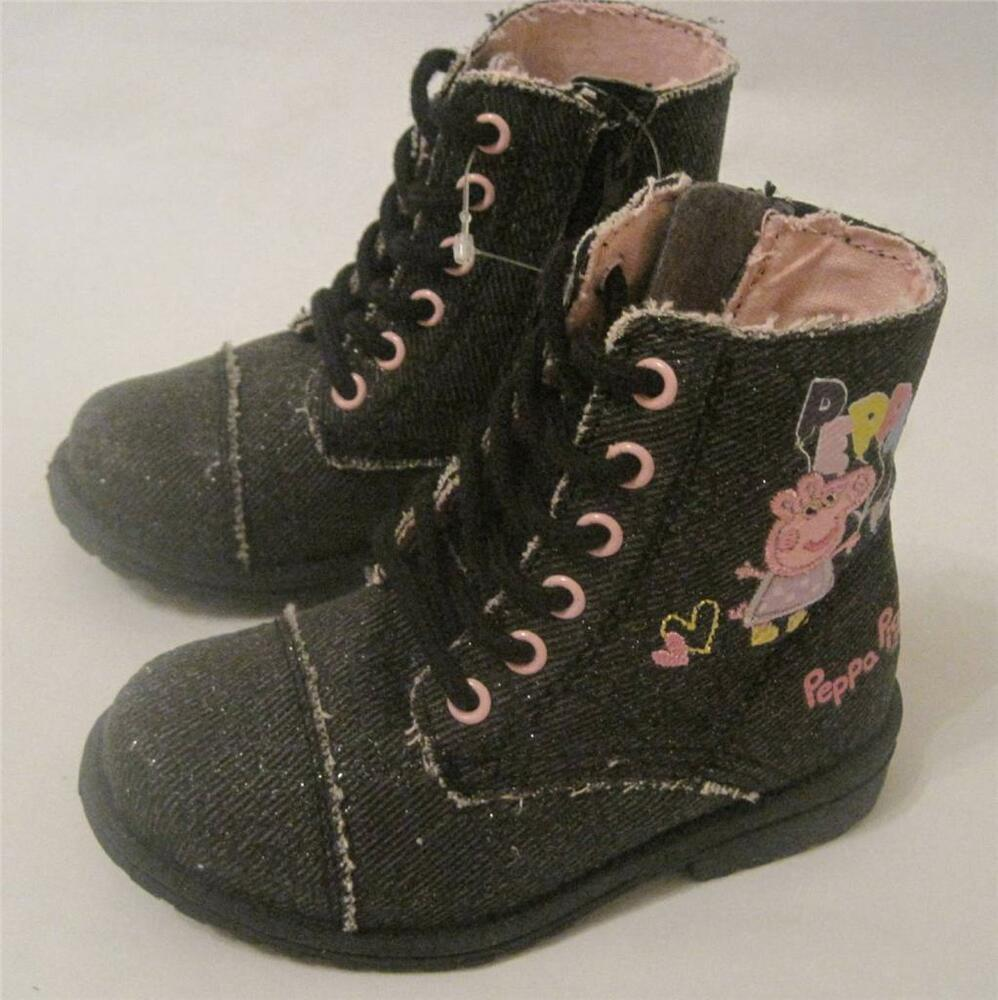 New Bnwt Girls Peppa Pig Winter Black Gorgeous Boots Size