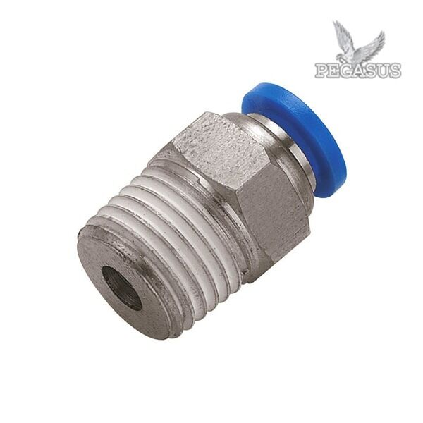 Male stud push in fit pneumatic fittings for air water