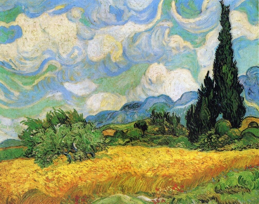 Oil painting wheat field with cypresses 1889 vincent van for Mural van gogh