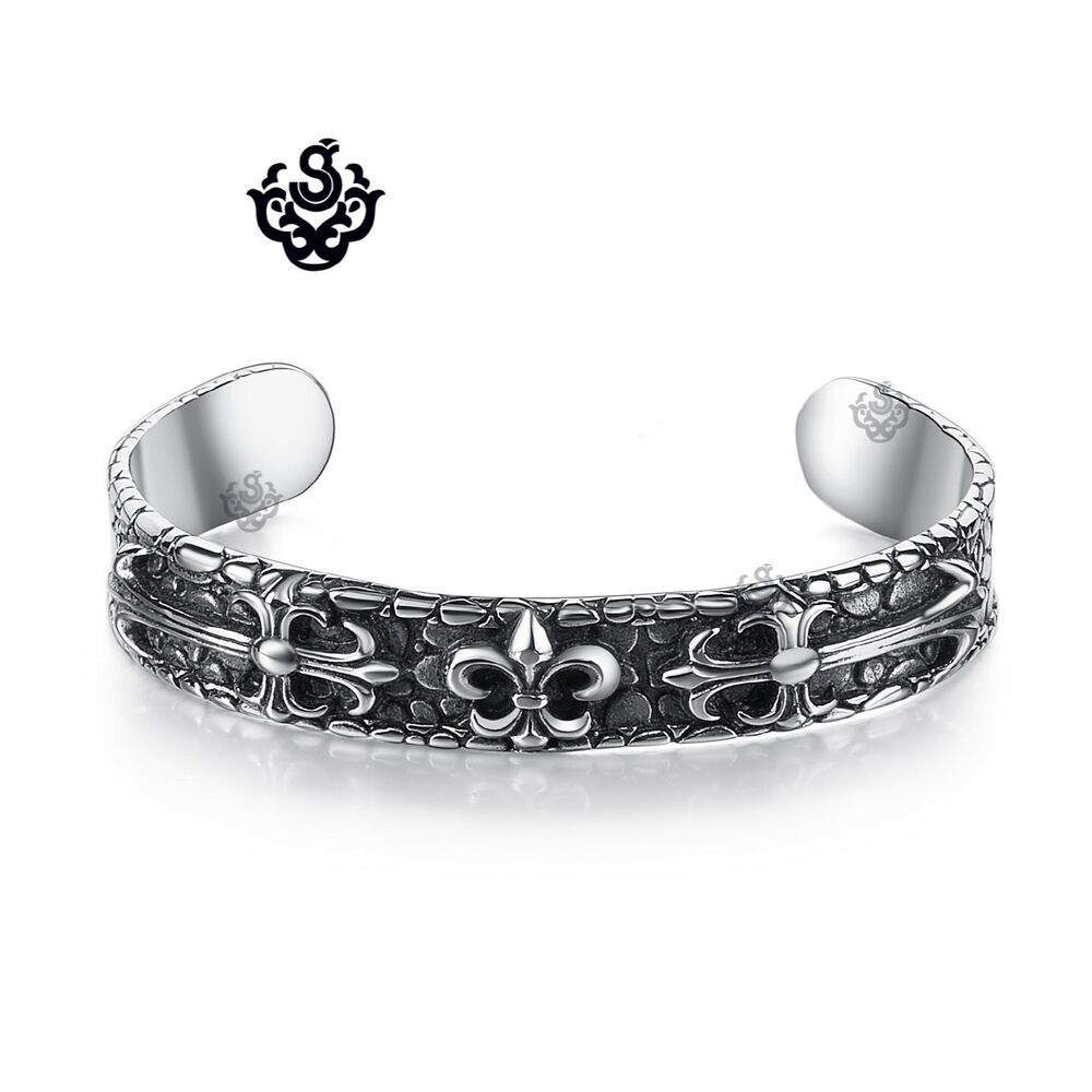 silver fleur de lis engraved bangle stainless steel cuff. Black Bedroom Furniture Sets. Home Design Ideas