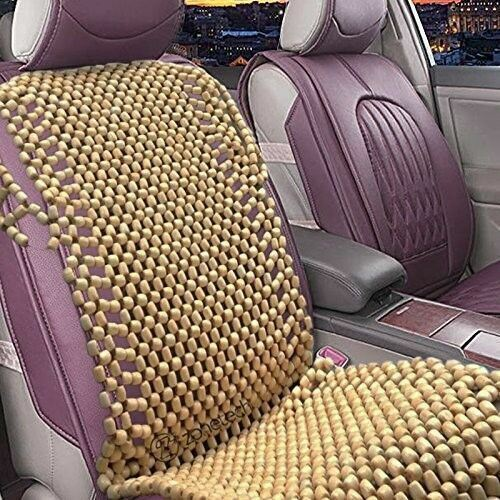 Zone Tech Natural Wooden Beaded Car Seat Cover Massage
