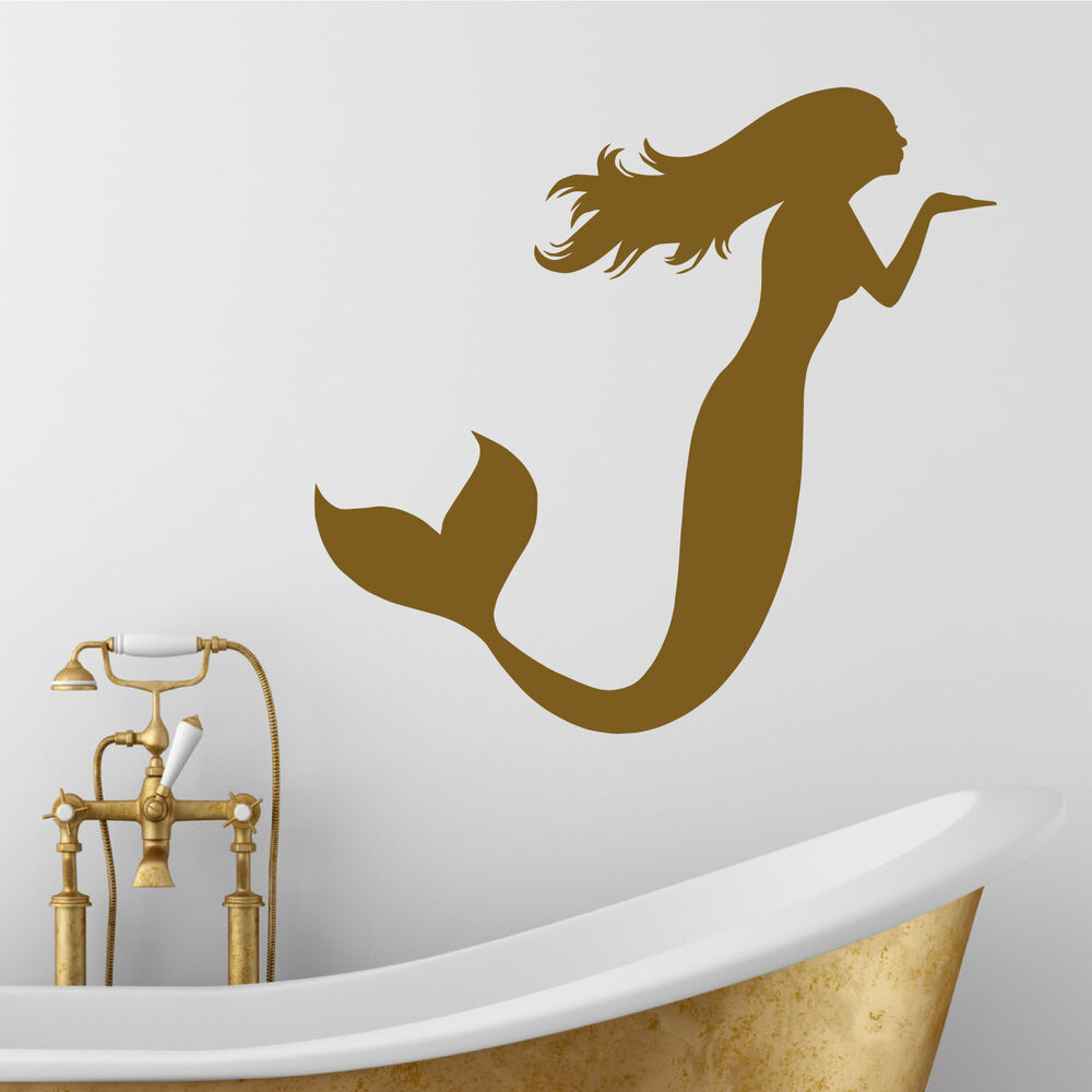 mermaid blowing a kiss wall sticker art bathroom shower wallies peel amp stick vinyl wall decals mermaid wall