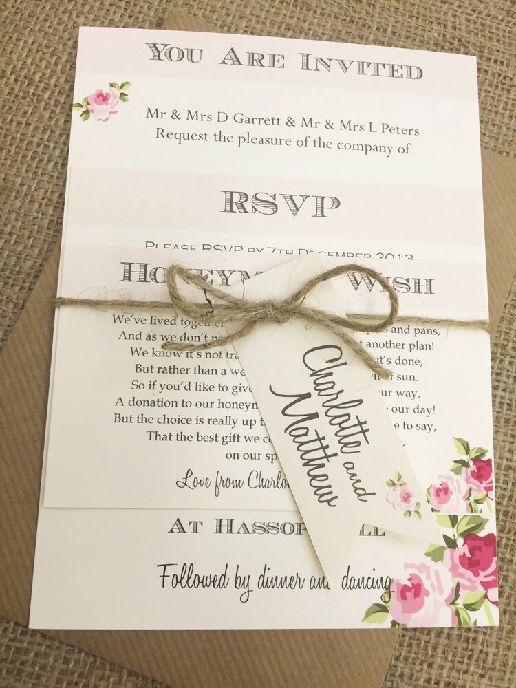 1 Vintage Shabby Chic Style Charlotte wedding – Rom Invitation Card