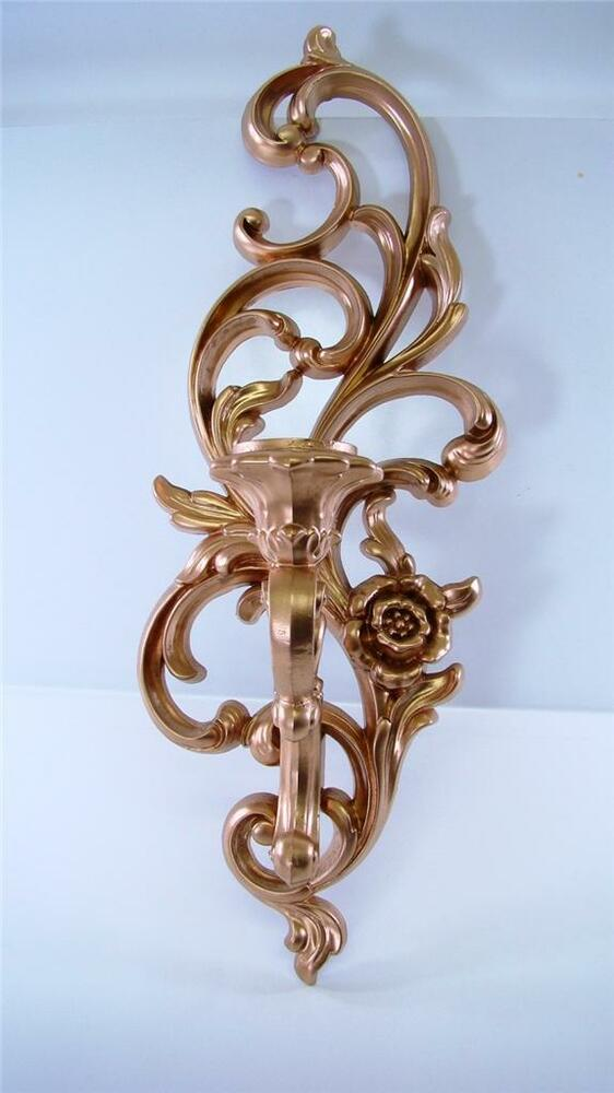 Art Deco Wax Candle Wall Sconces : Art Deco Gold Ornate Candle Holder Wall Sconce Hollywood Regency Syroco 4531 eBay