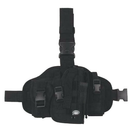 img-SECURITY TACTICAL COMBAT ARMY MILITARY MOLLE CARRIER LEG HOLSTER 2 POUCHES BLACK