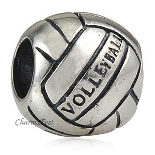 925 Solid Sterling Silver Volleyball Bead Fits European