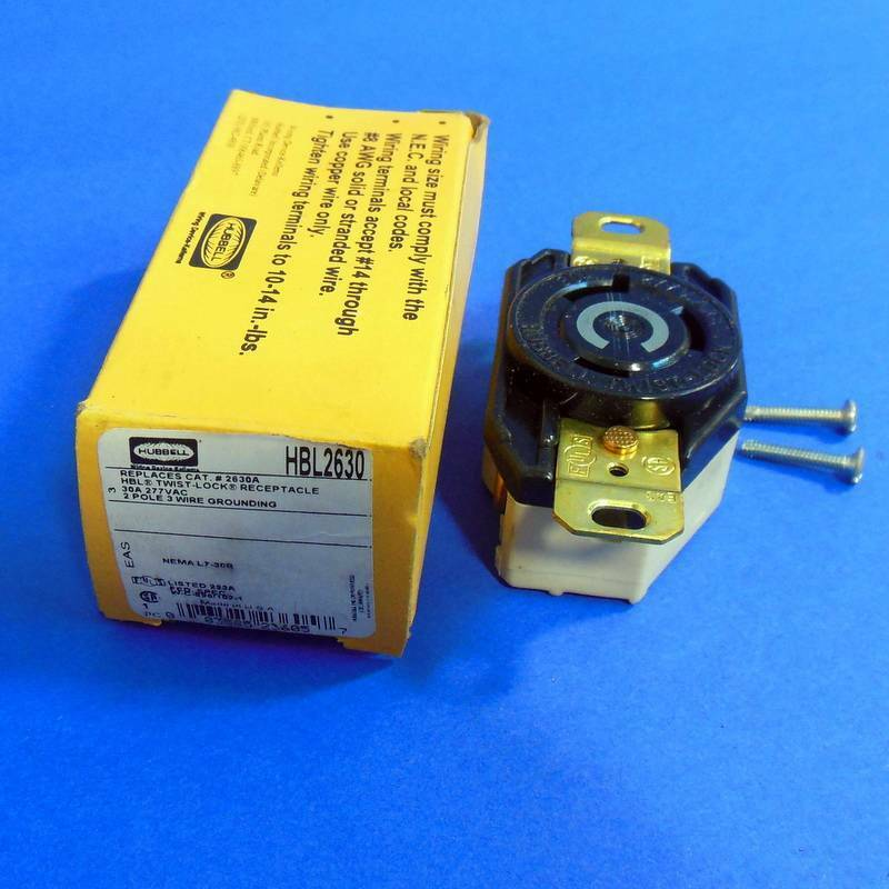 HUBBELL 277VAC 30A 2POLE 3 WIRE TWIST LOCK RECEPTACLE *NEW ...