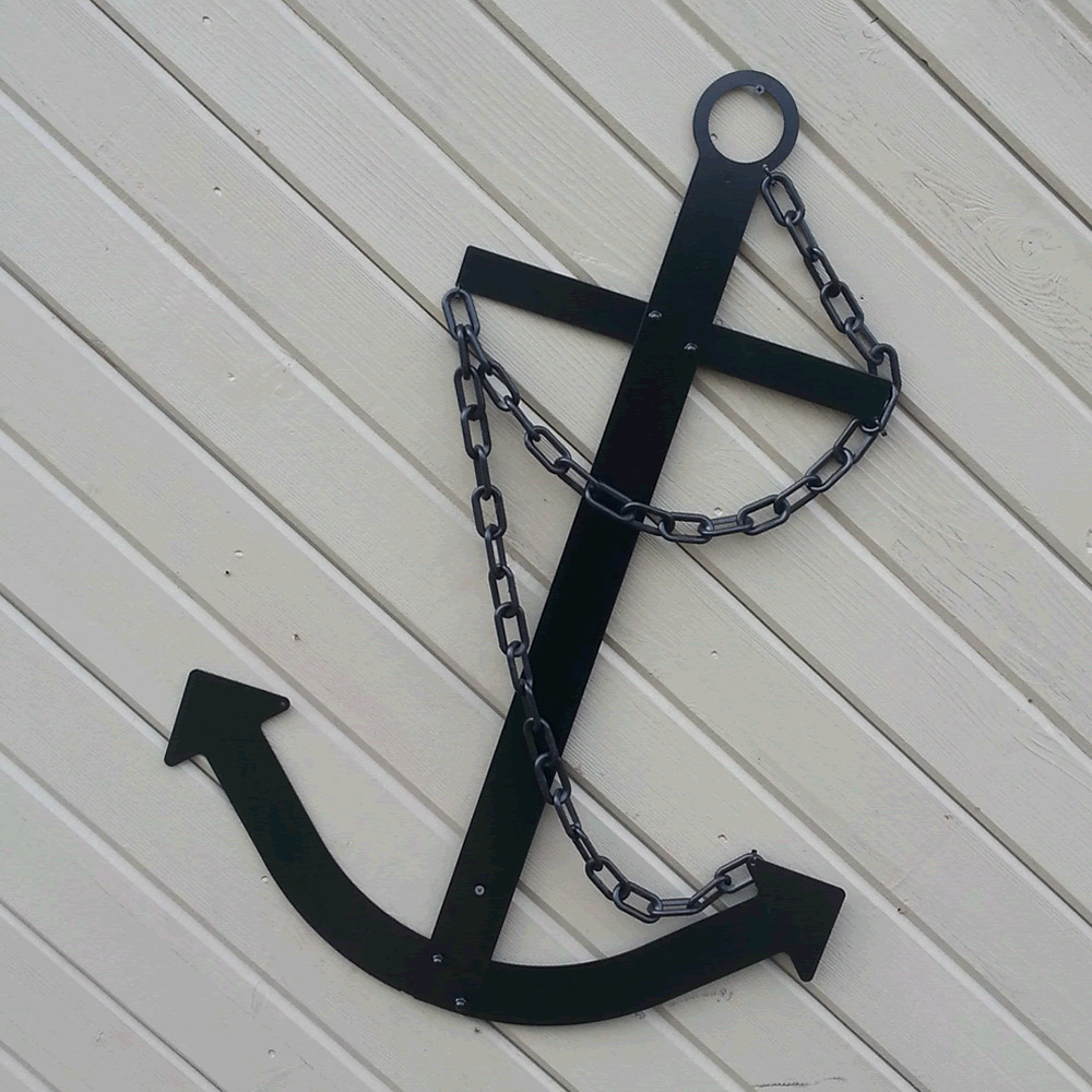 Black ship 39 s anchor wall decor flat metal 34 handcrafted for Anchor decor