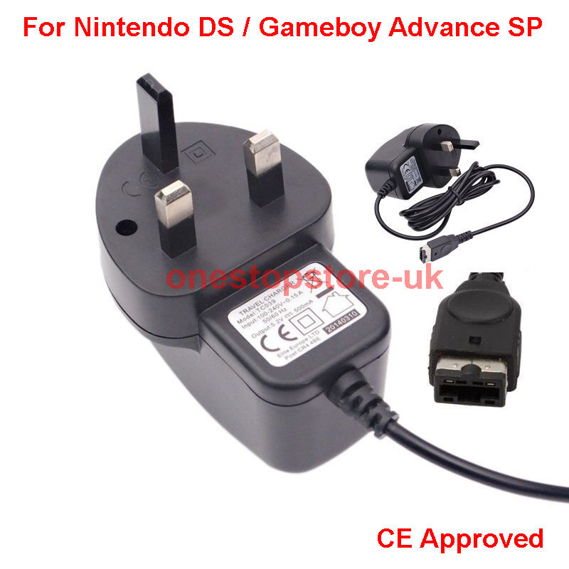 mains wall charger ce 3 pin uk adapter for nintendo ds gameboy advance gba sp ebay. Black Bedroom Furniture Sets. Home Design Ideas