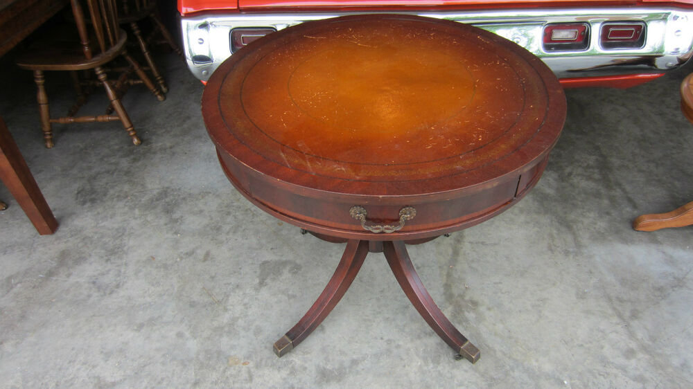 Leather Top Table Vintage Antique Round Mahogany Library