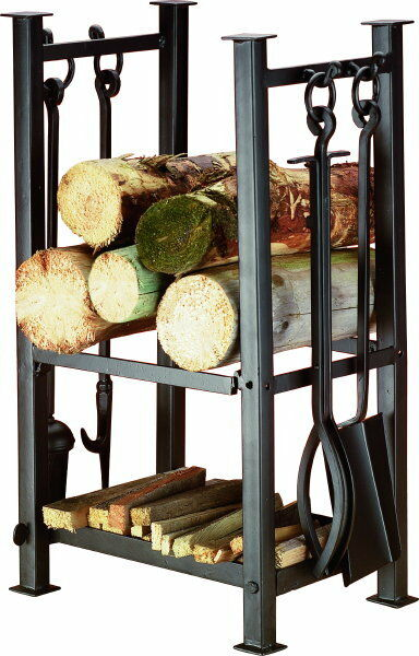 Log Station Stand Log Holder Fire Companion Set Log Basket