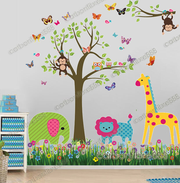 Jungle animals monkey owl tree wall stickers kids art for Animal mural for kids