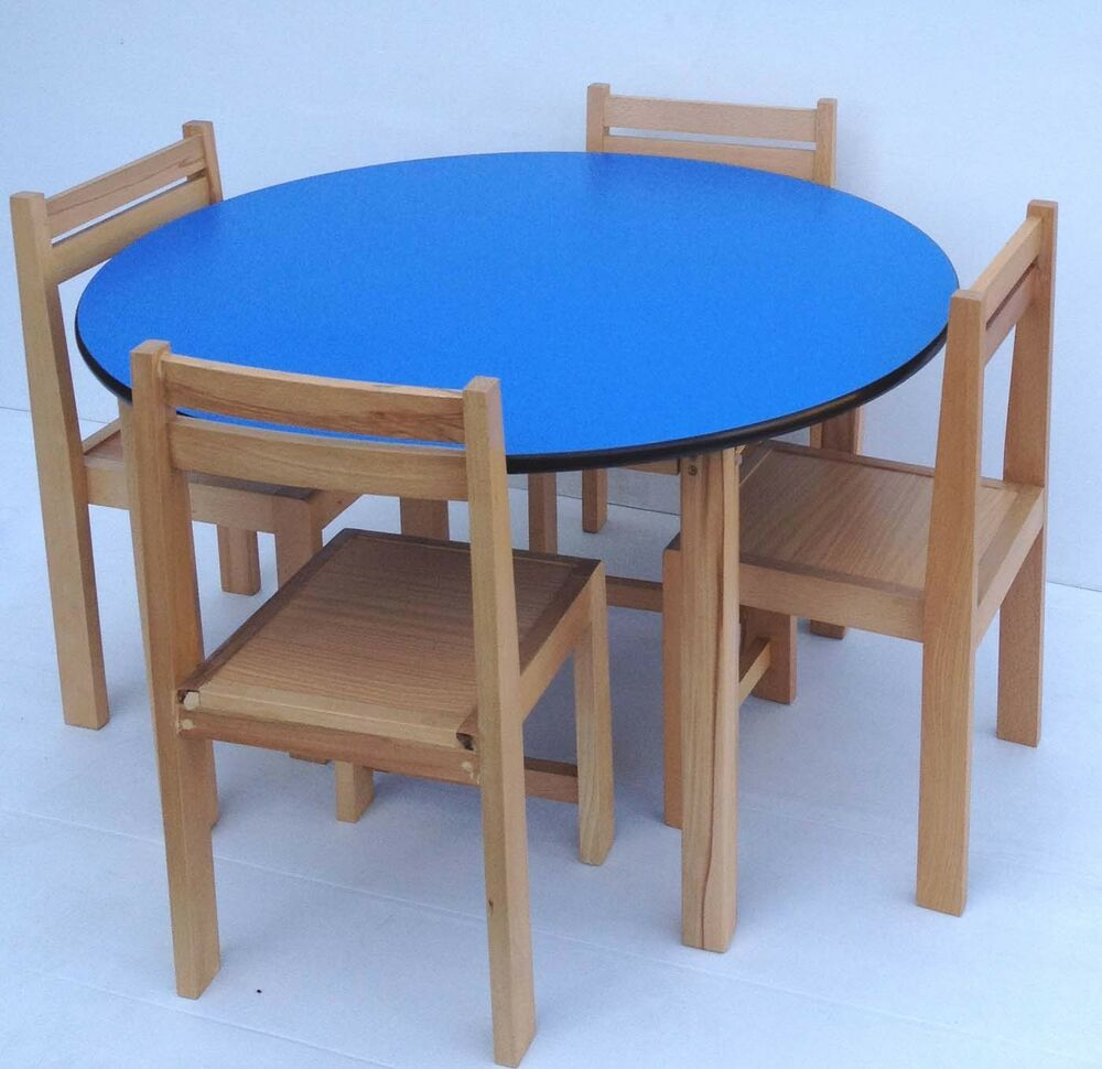 Wood Stacking Tables ~ Kids beech wood round table stacking chairs classroom pre