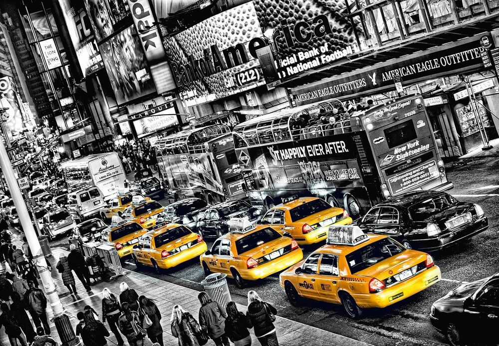wall mural yellow taxi cabs photo wallpaper large size. Black Bedroom Furniture Sets. Home Design Ideas