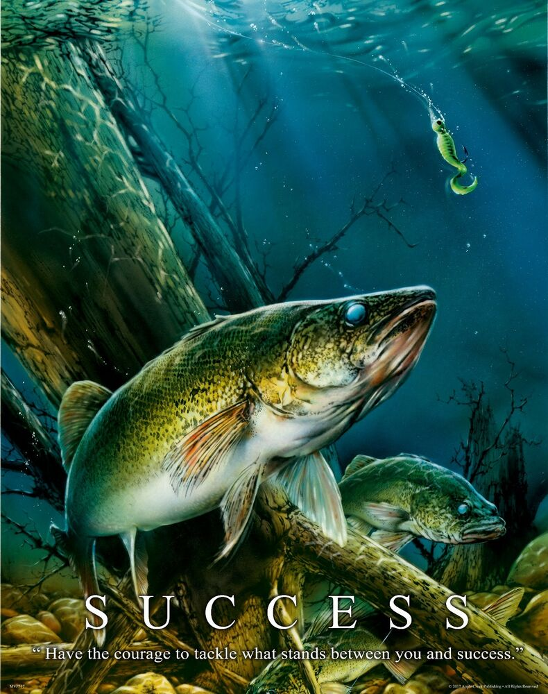 Walleye fishing motivational poster art vintage fishing for Walleye fishing pole