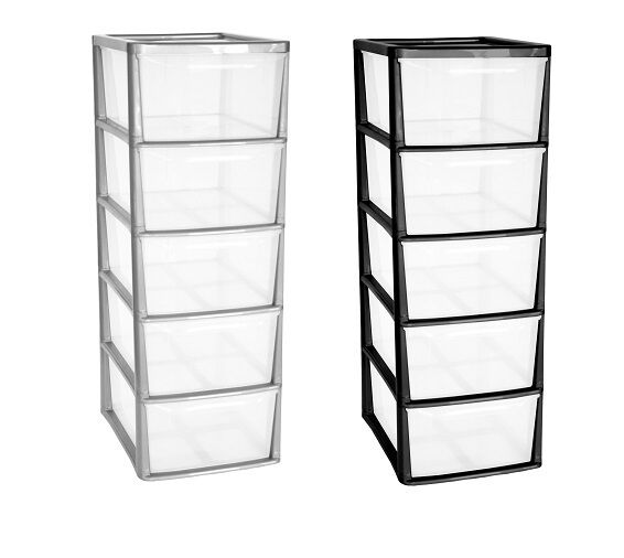 5 drawer a4 tower plastic draw storage unit office home school bedroom strong ebay. Black Bedroom Furniture Sets. Home Design Ideas