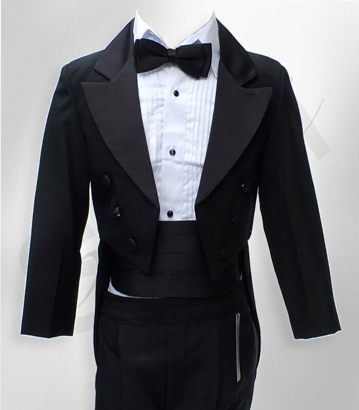 Baby Amp Boys Tuxedo Tail Suit In Black 5 Pcs Christening