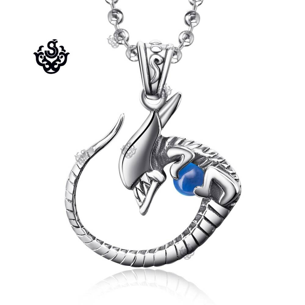 Silver alien pendant with gemstone solid stainless steel for Stainless steel jewelry necklace