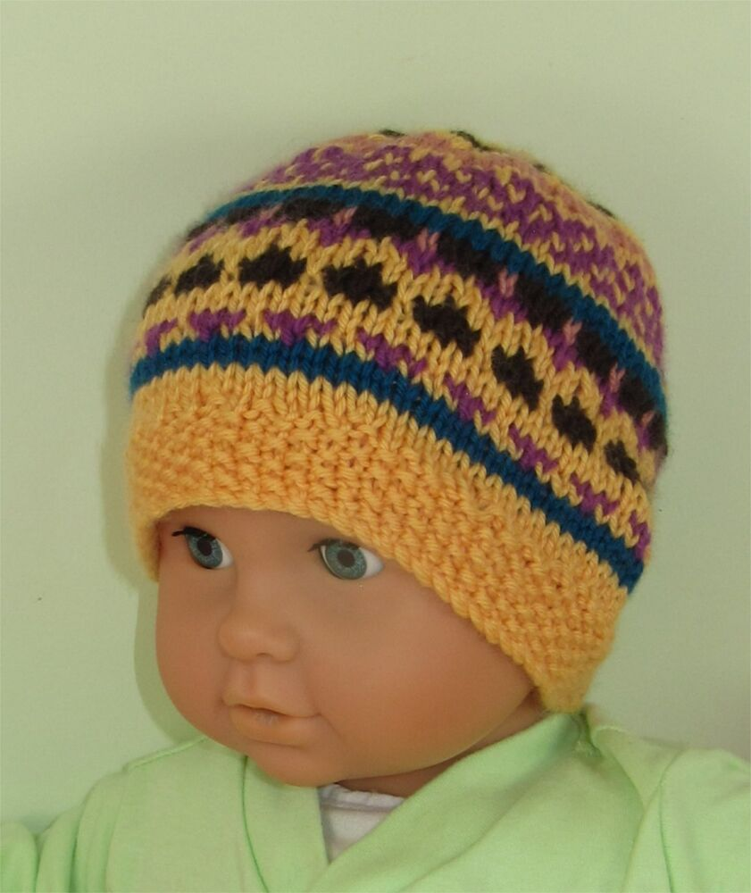 Knitting Pattern For A Toddlers Beanie : PRINTED INSTRUCTIONS-BABY & TODDLER SIMPLE FAIRISLE BEANIE ...