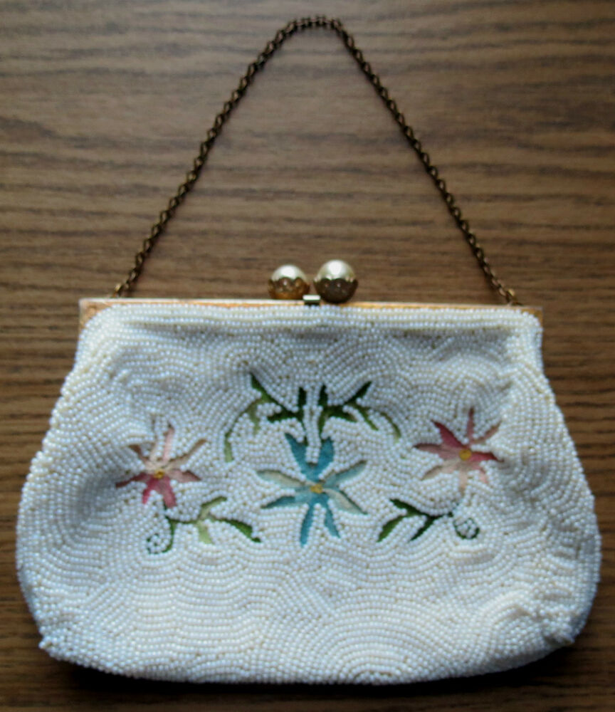 vintage white beaded purse with embroidered floral motif. Black Bedroom Furniture Sets. Home Design Ideas