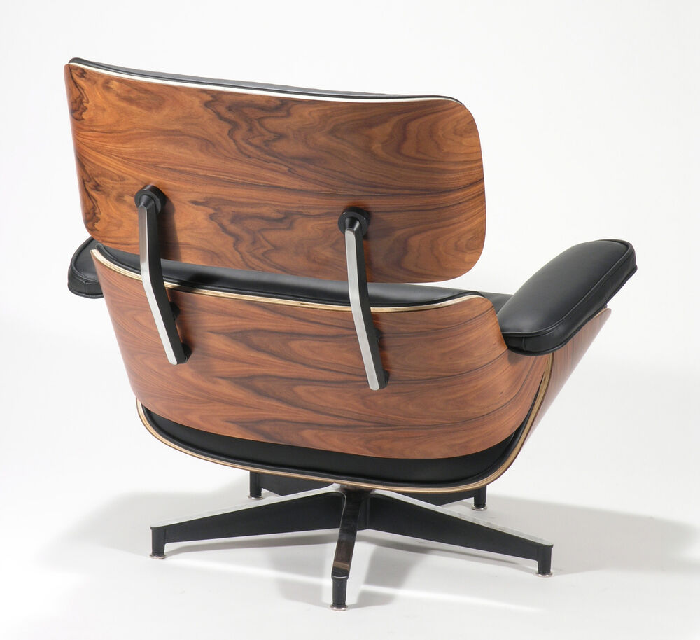 Charles Eames Style Rosewood Lounge Chair And Ottoman Genuine Black Leather