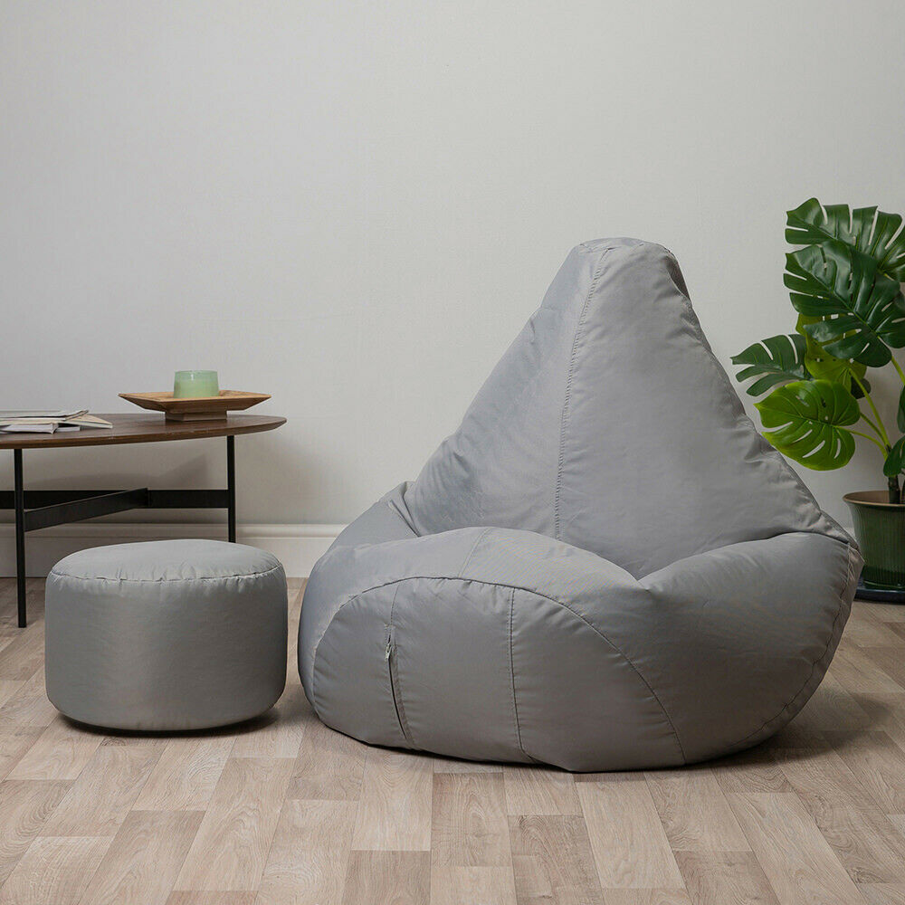 Bean Bag With Foot Stool Gamer Chair Indoor Outdoor Garden