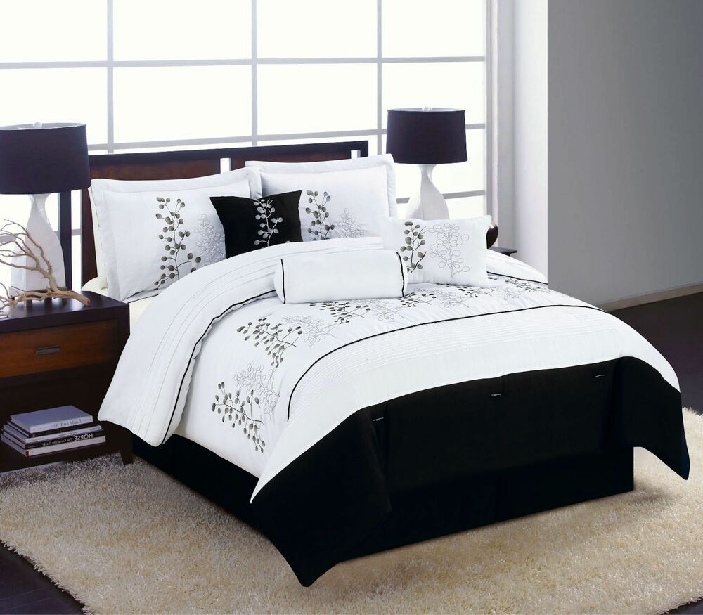 7pc Full Queen King Bedding Comforter Set Black White