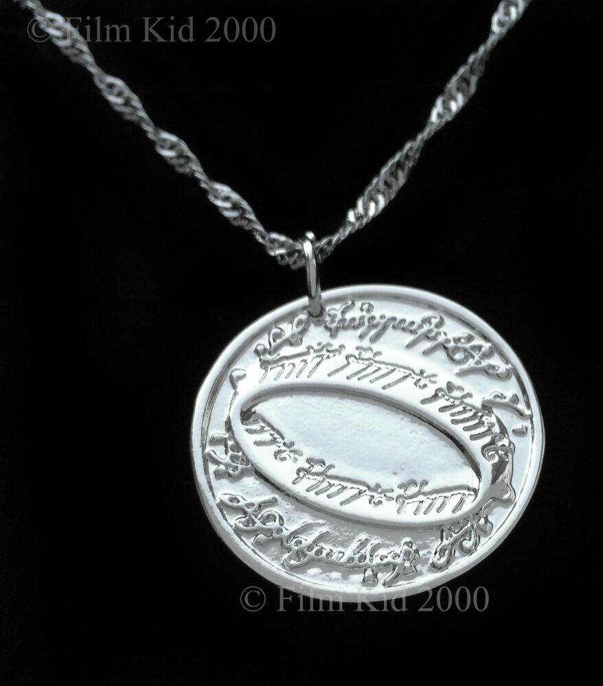 hobbit money coin necklace silver lotr elven leaf the lord