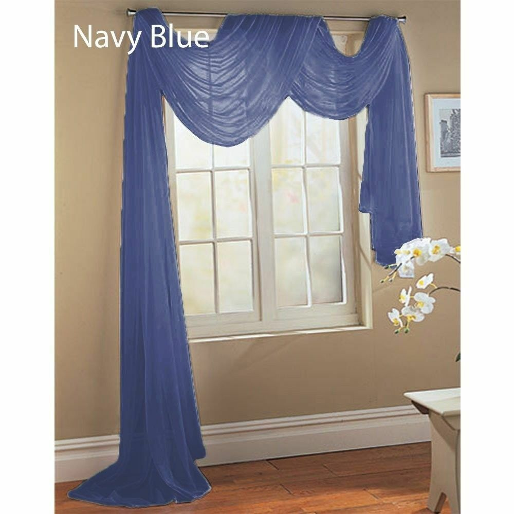 Pcs Navy Blue Scarf Voile Window Panel Solid Sheer Valance Curtains ...