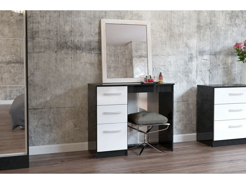 birlea lynx dressing table with 3 drawers black white. Black Bedroom Furniture Sets. Home Design Ideas