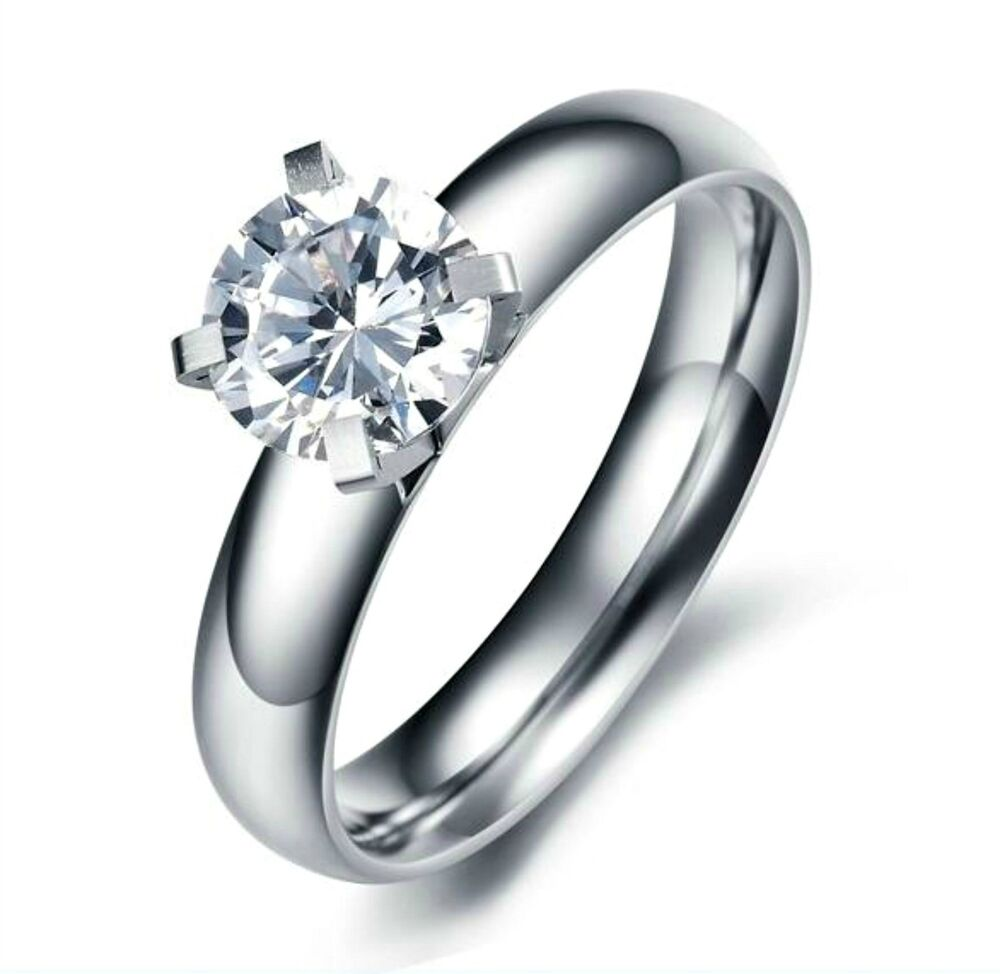 Stainless steel womens 7mm round cz engagement wedding for Cz wedding rings for women