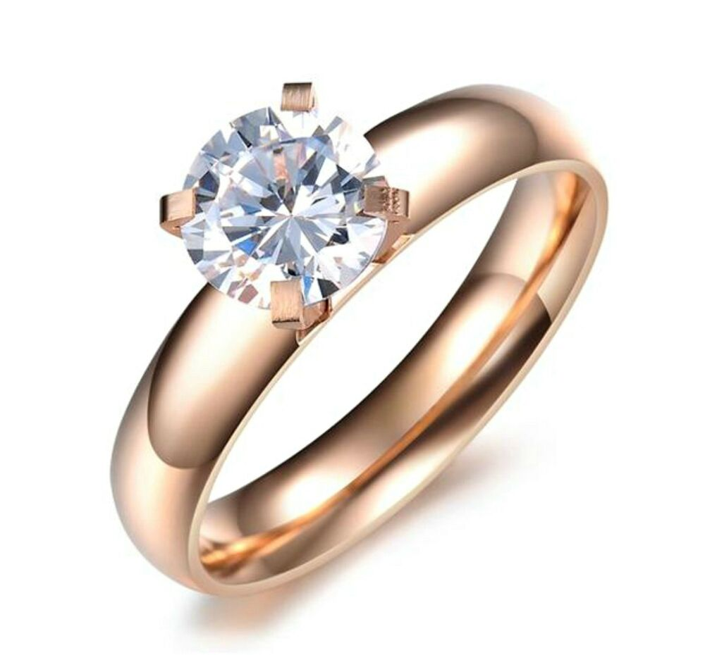 rose wedding rings gold stainless steel 7mm cz engagement wedding 7132