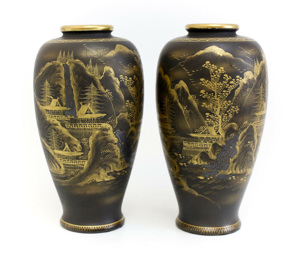 pair japanese satsuma pottery vases black matte glaze. Black Bedroom Furniture Sets. Home Design Ideas