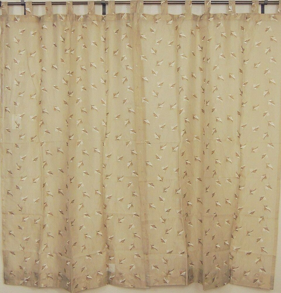 Tab Top Sheer Panels 2 Embroidered Ecru Decorative Window