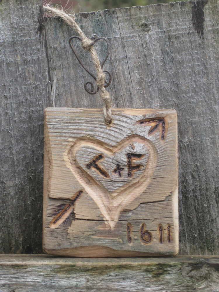 Hand Carved Wooden Gift Wedding Love Heart Bespoke