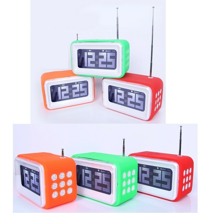 3302 lcd fm radio with alarm clock speaker two power battery usb aux ebay. Black Bedroom Furniture Sets. Home Design Ideas
