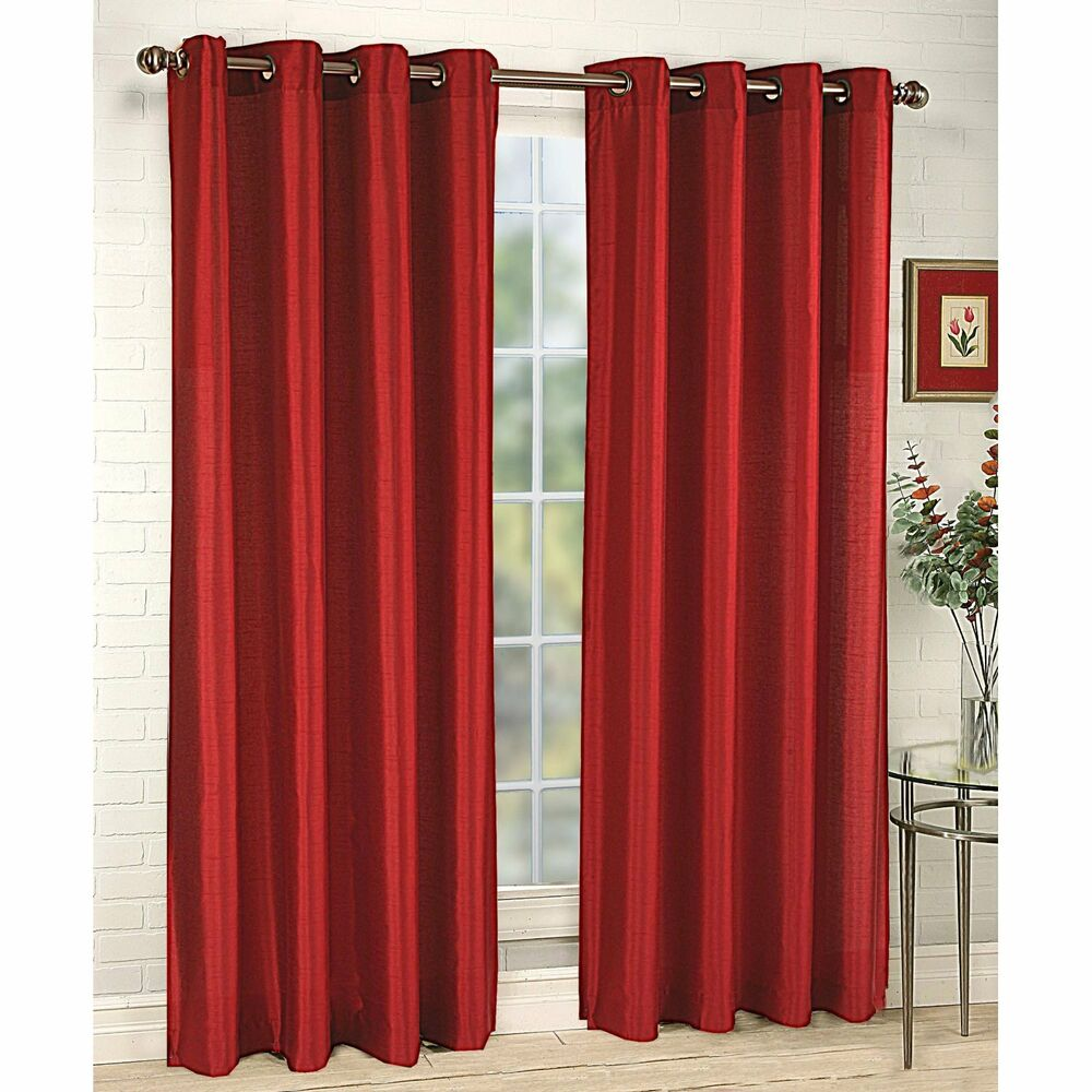 2 Panels Faux Silk Block Out Not See Through Curtains