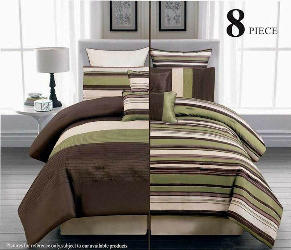 Outrageous Green And Brown Bedroom: 8PC Reversible Luxury Comforter Bed In Bag Bedding Set